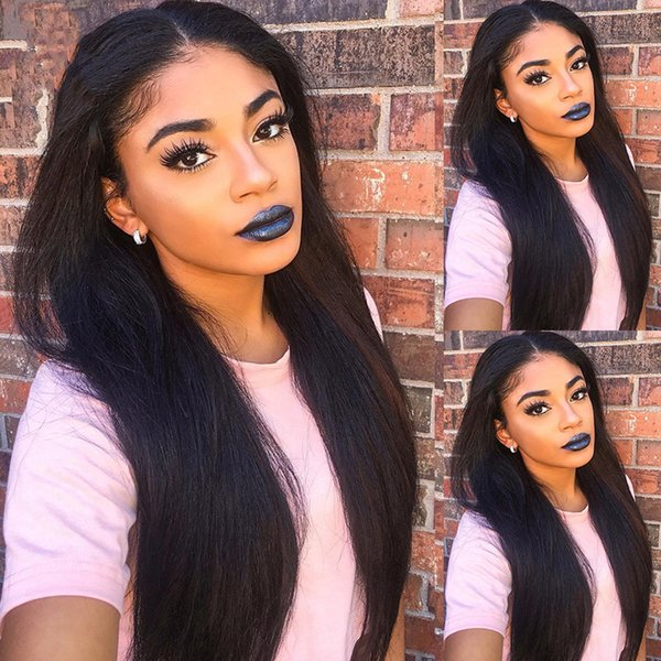 """150% Density Straight Human Hair Lace Front Wigs For Black Women Non Remy 8'-26"""" No Tangle and Shed Hair Wholesale price"""