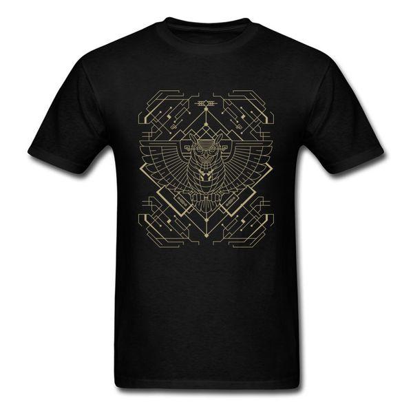 Geek Chic Tech Owl Print T-shirt Black Tee Shirt For Men Family Male Personality Short Sleeve Cartoon Street Wear Wholesale