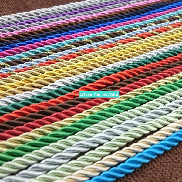 5mm de três camadas de corda torcida para a decoração da cortina de saco multicolor de corda de nylon de fibra de polipropileno