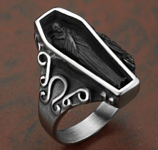 Fast Shipping Band Party 316 Stainless Steel Vampire Coffin Mens Ring Punk  Hot Silver Biker Ring Size 8~13 Ruby Ring Gold Jewelry From Xing1962,