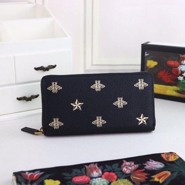 Top Qualität Luxus Celebrity design Brief Druck Biene Stern Zwei falten brieftasche Lange Geldbörse Rindsleder 495062