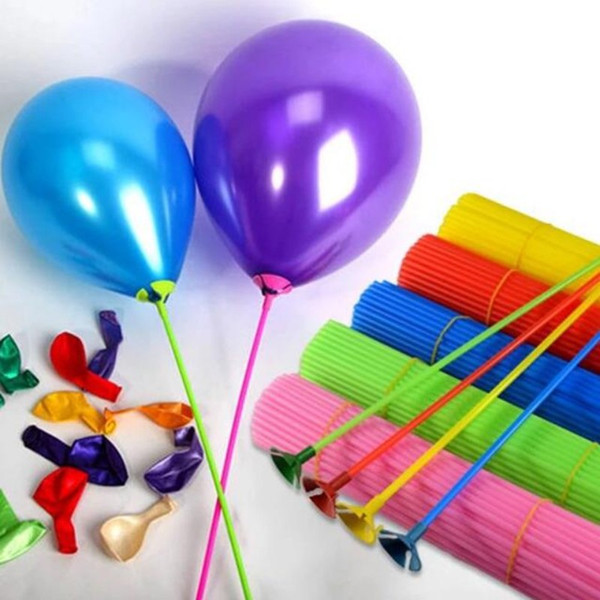 100pcs/lot 27cm Balloon Holder Stick Colorful PVC Rods Balloon Holder Sticks With Cup Birthday Party Decoration Supplies Accessories