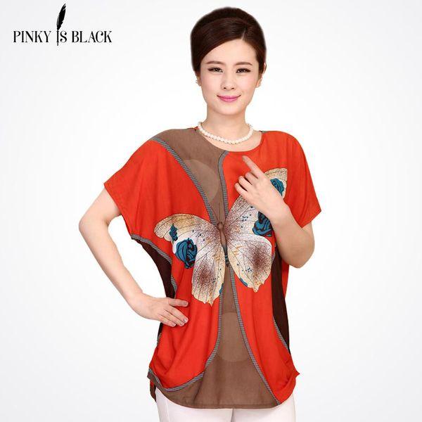Wholesale-2016 New Summer Plus Size Women T Shirt Roupas Femininas Blusas Tops Women Short Sleeve Bats Tees Women Clothing Print T-Shirt
