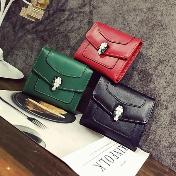 2018 neue PU kurze Absatz 3 Falten Brieftasche Serpentine Clasp Magnetische Deduktion Lady Wallet
