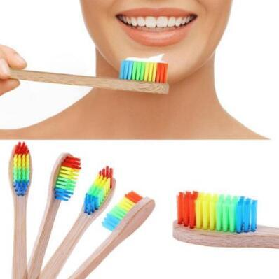 Wooden Rainbow Bamboo Toothbrush Environmentally Wood Toothbrush Soft Bristle Head Bamboo Toothbrush Adult Oral Care CCA8854 1000pcs