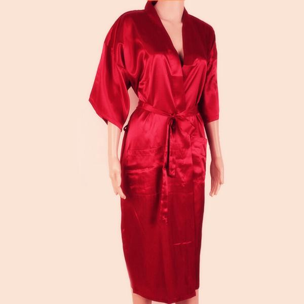 Il nuovo colore rosso cinese uomini sexy Seta Robes Solido Colore Kimono Bagno abito Rayon Pigiami maschile pigiama più il formato S M L XL XXL XXXL S0026