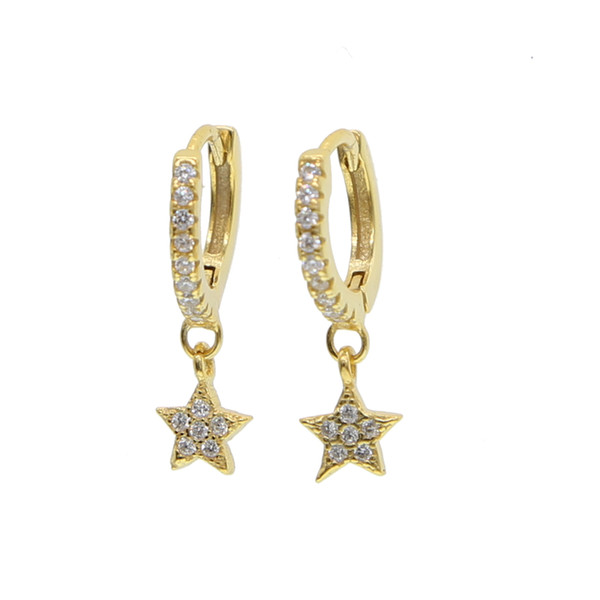 925 sterling silver Christmas gift delicate star charm classic hoop earring on micro pave clear cz cute tiny star earring for women girl2018