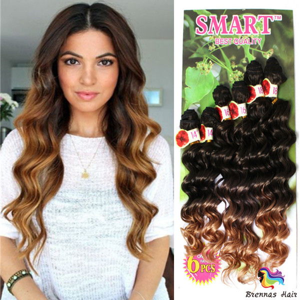 Hot sale 6pcs per pack 14-18inch Jerry Curly Synthetic Hair Weave Ombre Color Sew in Hair Extensions One pack full head for black woman