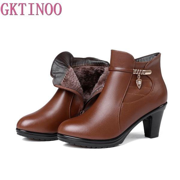 venta al por mayor 2018 nuevas botas de invierno de la manera elegante más botas de tobillo de terciopelo zapatos de mujer cálidas botas de nieve de cuero de tacón alto más el tamaño