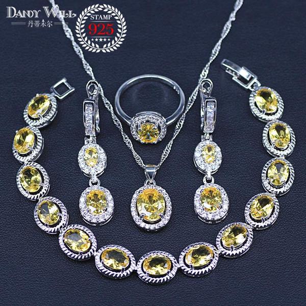 Ensemble de bijoux de zircon cubique de bijoux en argent sterling 925 rondes pour les boucles d'oreilles / pendentif / collier / anneaux / bracelet de femmes