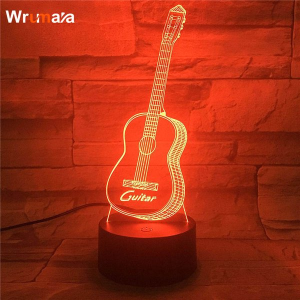 Wrumava 3D Gitar LED Gece Lambası Çok 7 Renk değiştirme Dokunmatik Anahtarı Optik masa lambası USB Powered Ev Odası Bar Partisi