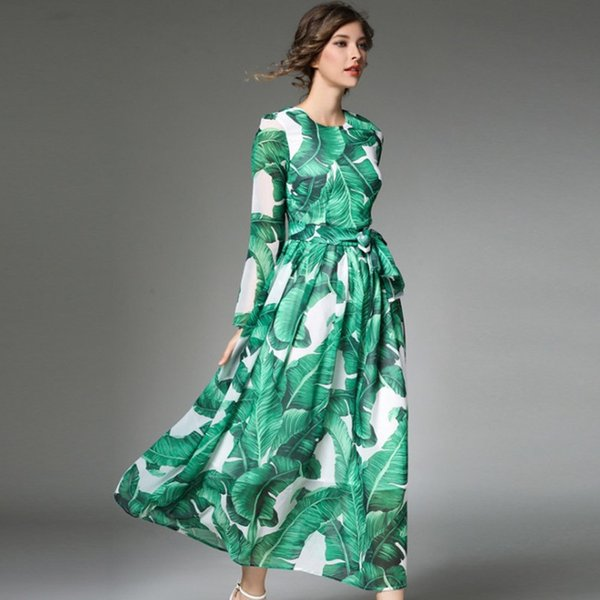 Girls Foloral Dresses Elegatn Long Sleeve Casual Pringting Green Evening  Gowns Plus Size Maxi Dress 2018 New Fashion Clothes Summer Dress Boutique  ...