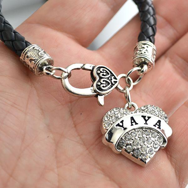 Personalizado Diy YAYA encanto tachonado con espumosos corazones de diamantes de imitación de cristal cadena de cuero colgante pulsera envío de la gota