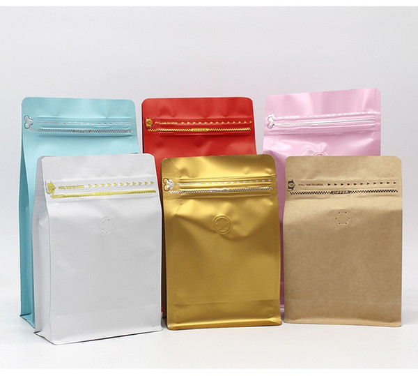 Mix Colors half pound volume Lamination aluminum foil ziplock packaging bag coffee bean bag side gusset zipper bag with valve