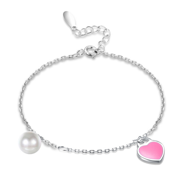 Authentic 100% 925 Sterling Silver bracelet for women slim fine chains with pink heart pearl ball pendant women accessories 2018