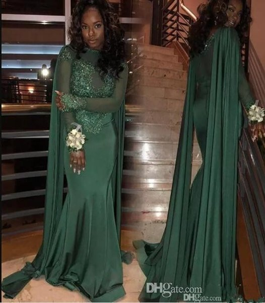 Arabic Mermaid Evening Dresses with Cape Dark Green Long Sleeve Jewel Neck Lace Appliques Black Girls Modest Cloak Sheer Sexy Evening Party