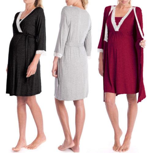 Pregnant Women Maternity Pajamas Nightdress Nursing Breastfeeding Soft Sleepwear 3/4 Sleeve Solid Comfortable Gown Sets