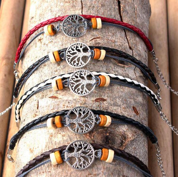 Tree of Life Perlas de Madera de Múltiples Capas Pulsera de La Mano Pulsera Del Encanto Del Vínculo Enlace Cadena Del Tobillo Adolescente Mujeres Niñas Regalos Envío Gratis