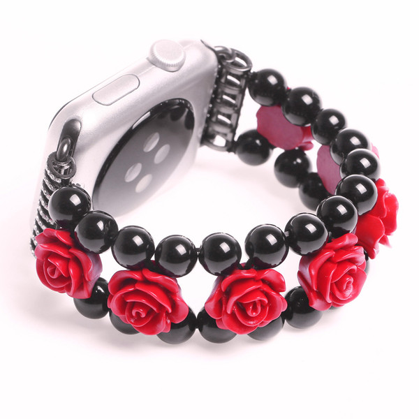 Ladies Red Rose Flower Black Agate Jewelry Band for Apple Watch Strap Bracelet for iWatch Series 4 3 2 1 Stretch Wristband 40/44mm 42mm 38mm