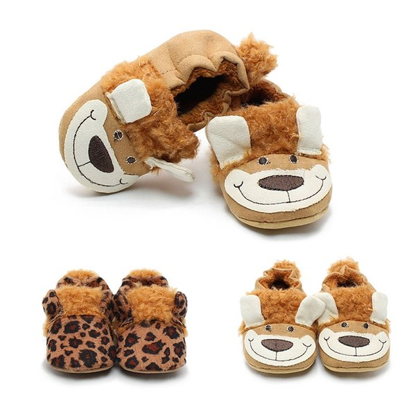 Winter Warm Baby Girl Boy Soft Soled Casual Cotton Leopard Animal Print Shoes Boots First Walkers for Newborn