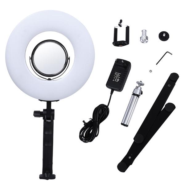 8-Zoll 24W 5500K Tischplatte Dimmbare LED Ring Licht mit Desktop Halterung Foto Make-up Ring Licht Telefon Video Live Licht Lampe
