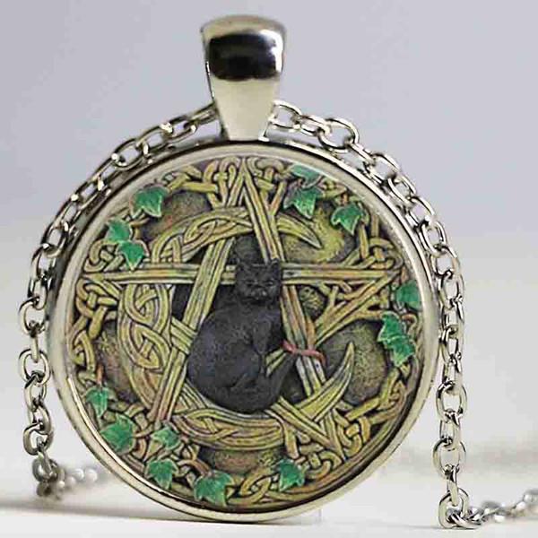 Ciondolo cupola in vetro all'ingrosso Collana ciondolo Wicca nera Pentagramma Gioielli wiccan Collana con ciondolo regali per uomo e donna