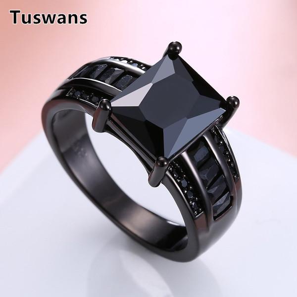 Tuswans большой прямоугольник CZ старинные кольца для женщин черный фиолетовый розовый камень черный пистолет покрытием палец кольцо женский ювелирные bague femme