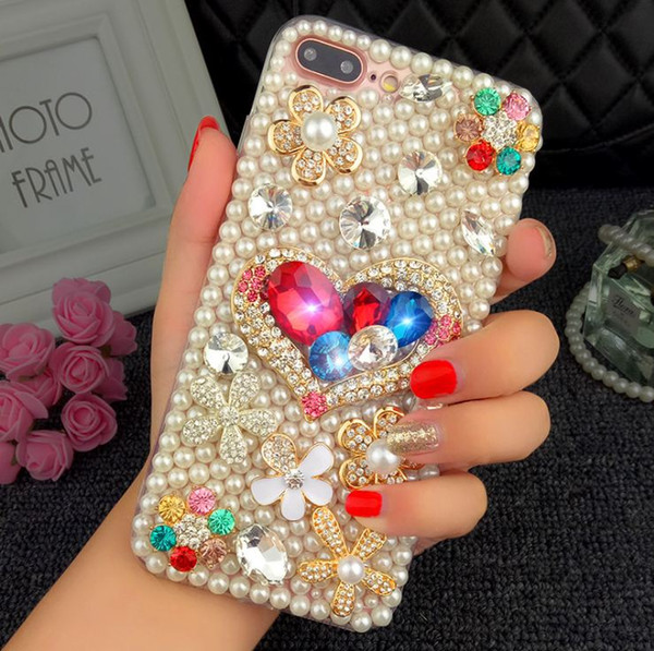 luxury Pearl Rhinestone Diamond Crystal Glitter Flower Bling Case Cover For Iphone 6 6S Plus 7 7/8Plus