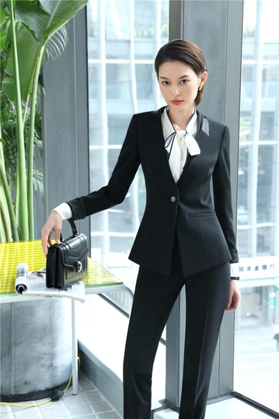 2018 New Styles Formal Uniform Designs Blazers Suits Business Women Pantsuits With Tops And Pants For Ladies Office Work Wear