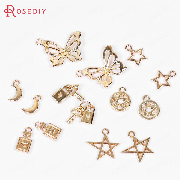 20PCS Gold Color Plated Alloy Star Lock Key Moon Butterfly Perfume Bottle Charms Pendants Diy Jewelry Findings Accessories