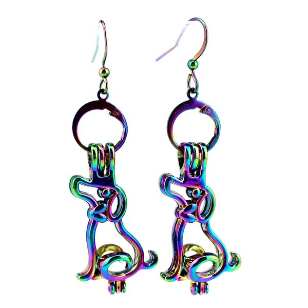 Z807 Rainbow Color Puppy Dog Beauty Pearl Cage Earrings Hooks with 8mm Plastic Beads Girl's Gift