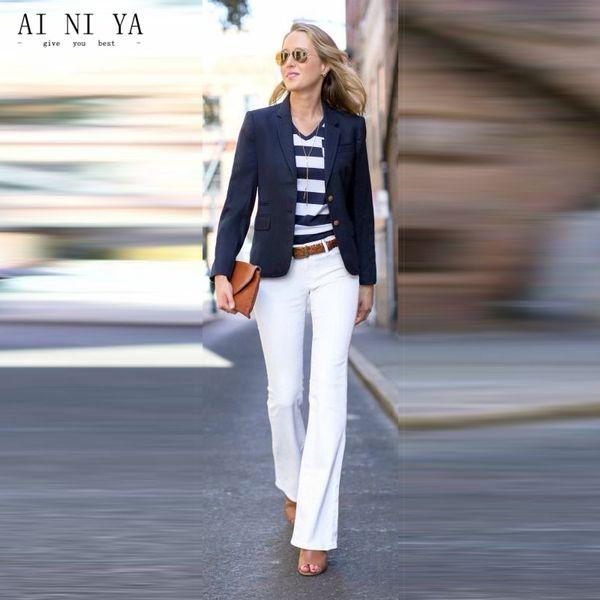 Navy Jacket White Pants Womens Business Suits Female Office Uniform Elegant 2 Piece Sets Blazer Ladies Winter Formal Suits Work