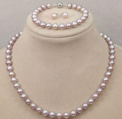 Бесплатная доставка 9-10мм природный Южного моря розовый фиолетовый жемчужное ожерелье браслет серьги