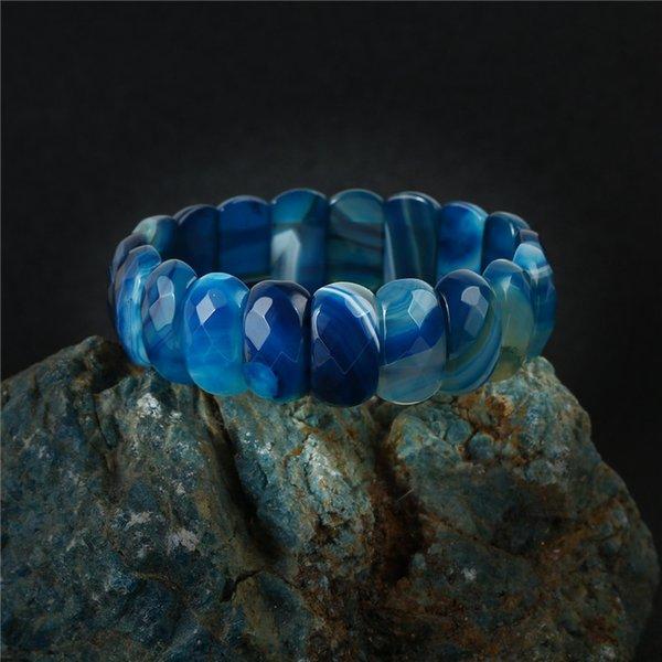 Healing Chakra Yoga Bracciale blu tagliato sfaccettato onice naturale pietra perline bracciali braccialetti per le donne amuleti gioielli elasticizzati