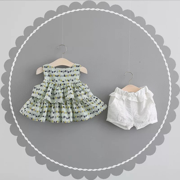 Bnwige Sommer Neue Mädchen Mode Kleidung Sets Baby Mädchen Kleidung Sets Ärmelloses Whirte T-Shirt + Kurze 2 Stücke Kleidung Anzüge