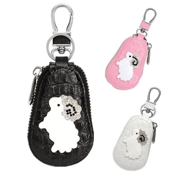 Cute Women Auto Key Bag Cartoon Sheep Car Key Container Leather Car Key Case for Car Great Gift Black Pink White