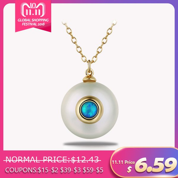 Hongye 2018 New Fashion Freshwater Pearl Necklace Women 925 Sterling Silver Chain 12mm Pearl Pendant Jewelry Necklace For Gift C18110601