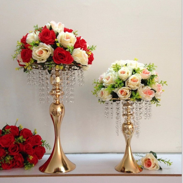 12 unids 33 cm 48 cm Ramo de la boda Bola de la flor Centros de mesa de decoración Florero Soporte de hierro Estante de exhibición de flores Plomo plomo