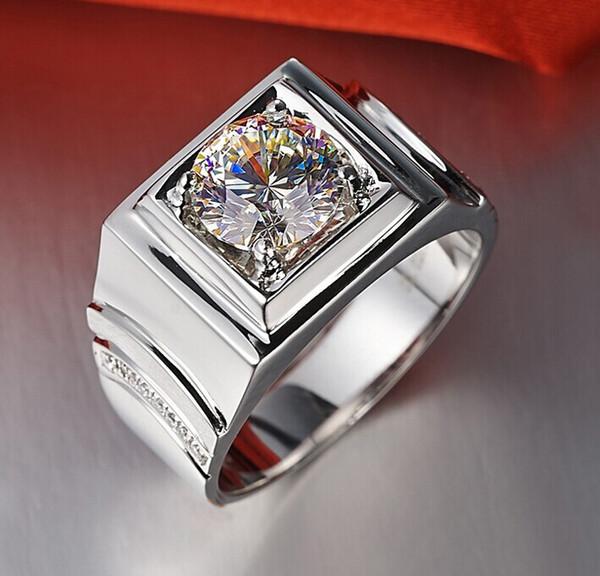 Круглый классический подлинный 1 карат Сона синтетический алмаз кольца для мужчин распространенным стерлингового серебра 925 18 к белого золота покрытием кольца не исчезают