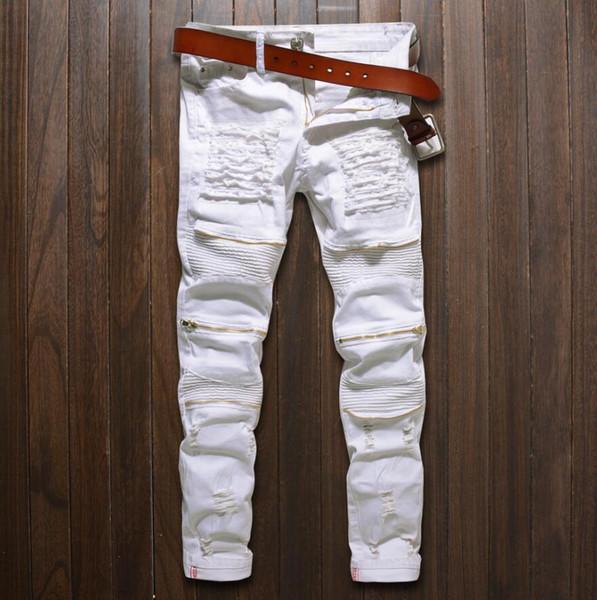 2017 New Black Ripped Jeans Men With Holes Denim Super Skinny Famous Designer Slim Fit Jean Pants Scratched Biker Jeans