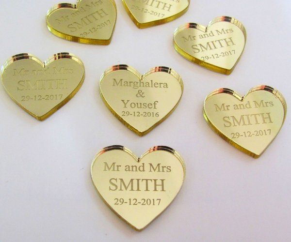 table armrest 50 pieces Personalized Mirror/clear MR & MRS Surname Love Heart Wedding Table Decor Favors Customized 25MM*24MM