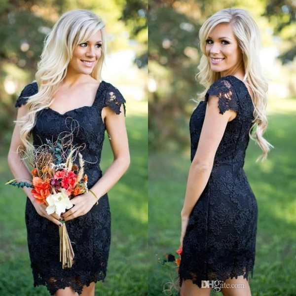 Country Black Bridesmaid Dresses Sweetheart Cap Sleeves Full Lace Cheap Sheath Plus Size Short Red Wedding Guest Wear Gowns