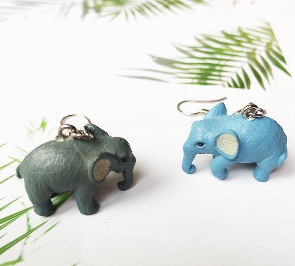 Schöne Kubikharz Elefant baumeln Ohrringe für Frauen Mädchen blau grau Farbe niedlichen Cartoon Tier Ohrringe Brincos Modeschmuck