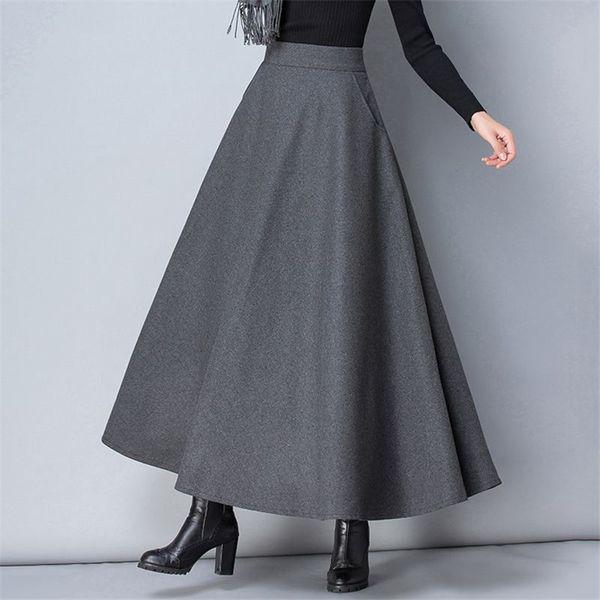 Femmes d'hiver à long Woollen Mode Jupe taille haute Jupes Laine de base Femme Casual chaud épais élastique A-ligne Maxi Jupes O839
