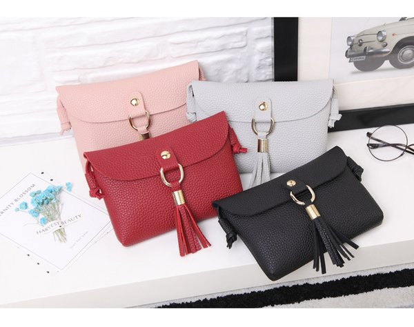 Great Ladies Handbags With Tassels Cross Body Shoulder Handbag Buttons Korea PU Mobile Phone Bag Simple Lock Mini Bag
