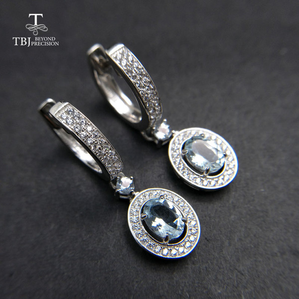 TBJ,2018 new classic clasp earring with natural brazil aquamarine gemstone jewelry in 925 sterling silver for anniversary gift