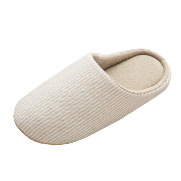 meilleur service 803d2 f4f07 Acheter Femmes Hommes Coton Lin Pantoufles Couples Japon Style Rayé  Intérieur Maison Pantoufle Respirant Sans Bruit Anti Slip Chaussures  D'hiver De ...