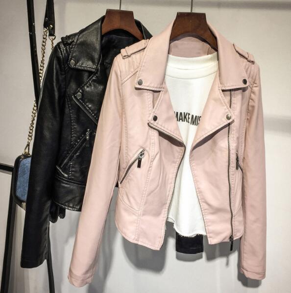 Womens Lapel Neck Biker PU Jackets Coats Woman Slim Punk Streetwear PU Jackets Pink Black Zipper Design Outerwear Women Clothes Tops Coats