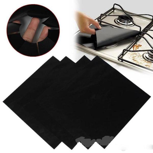 4 PCS Folha De Alumínio Reutilizável Fogão A Gás Queimar Capa Protetora Forro Limpo Mat Pad Ferimentos Proteção