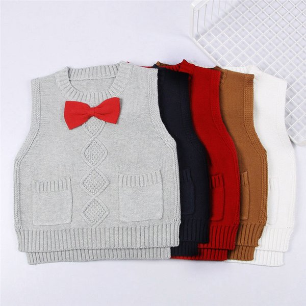School Baby Princess Girls Knitted Vest Sweater Autumn Bow Vest Kid Boy Cardigan Child Outerwear Waistcoat Casual Clothes